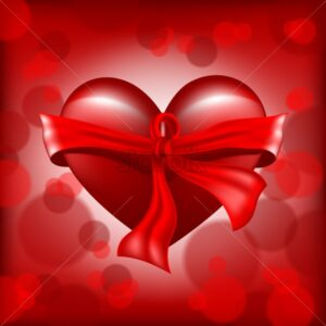 Digital vector valentines day realistic red heart with ribbon and sparkle - starpik