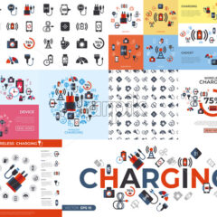 Digital vector wireless charging icons set with drawn simple line art info graphic, flat style - starpik