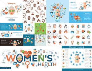 Digital vector woman health icons set with drawn simple line art info graphic, flat style - starpik