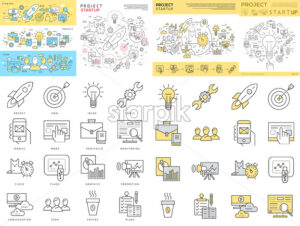 Digital vector yellow and blue startup business icons with drawn simple line art info graphic, presentation with project and team elements around promo template, flat style - starpik