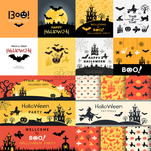 Digital Vector Yellow Black Happy Halloween Icons With Drawn Simple Line Art Info Graphic Presentation With Bats Moon And Cemetery Elements Around Promo Template Flat Style Starpik Stock