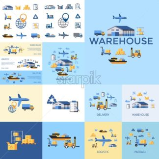 Digital vector yellow blue warehouse icons with drawn simple line art info graphic, presentation with transport, globe and storage depositing logistic elements around promo template, flat style - starpik