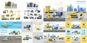 Digital vector yellow construction building tracks icons with drawn simple line art info graphic, presentation with crane, grout, excavator and cement elements around promo template, flat style - starpik
