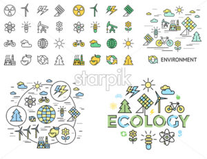 Digital vector yellow green ecology icons with drawn simple line art info graphic, presentation with recycle, production and alternative energy circuit elements around promo template, flat - starpik