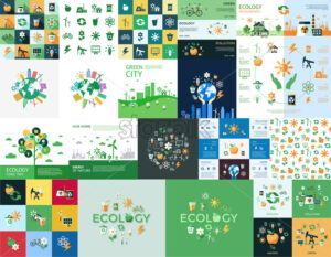 Digital vector yellow green ecology icons with drawn simple line art info graphic, presentation with recycle, production and alternative energy elements around promo template, flat style - starpik