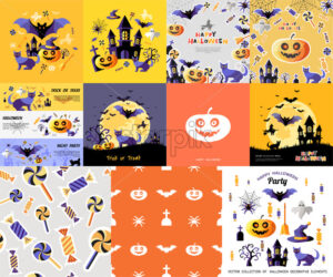 Digital vector yellow purple happy halloween icons with drawn simple line art info graphic, presentation with bats, cat and pumpkin elements around promo template, flat style - starpik