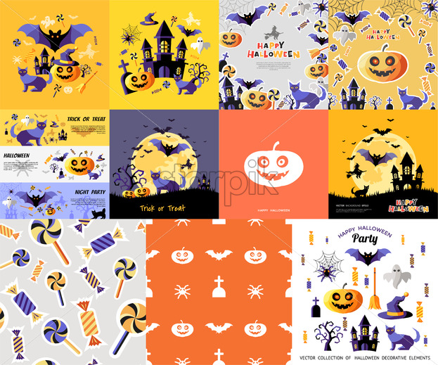 Digital Vector Yellow Purple Happy Halloween Icons With Drawn Simple Line Art Info Graphic Presentation With Bats Cat And Pumpkin Elements Around Promo Template Flat Style Starpik Stock