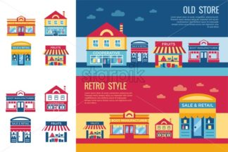 Digital vector yellow supermarket icons with drawn simple line art info graphic, presentation with commerce, shopping building elements around promo template, flat style - starpik