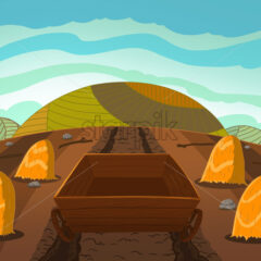 Empty wooden cart on the corn field full of sheaves of wheat. Digital background raster illustration for kids book.