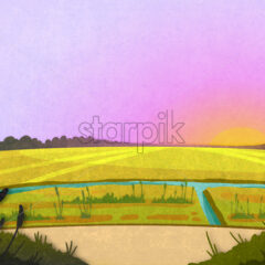 Field crop and a river in the sunrise. Cartoon stylish background raster illustration.