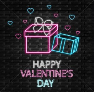 Gift box neon light Vector. Happy Valentine day romantic template. Gifts shop. Invitation or greeting card - starpik