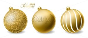 Golden glitter Christmas balls Vector realistic. Merry Christmas shiny baubles isolated. Detailed 3d elements illustration decor - starpik