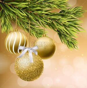 Golden glitter Christmas balls Vector realistic. Shiny baubles on a Christmas tree. Detailed 3d elements illustration decors card - starpik