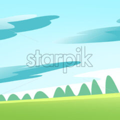 Green Meadow and Forest on a Calm Sunny Summer Day with some Clouds in the Sky. Digital background raster illustration.