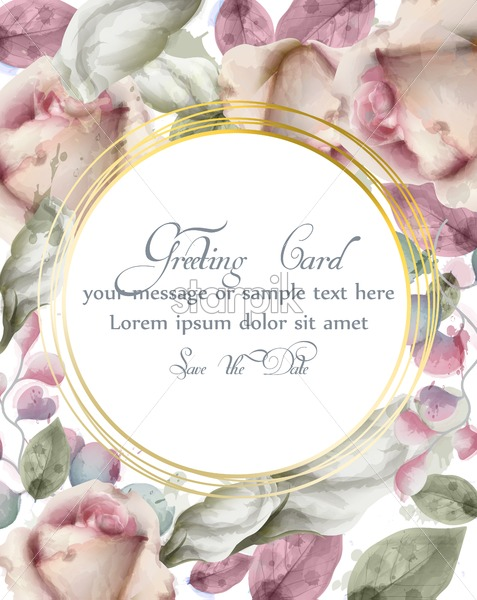 Greeting card with watercolor flowers background Vector. Golden abstract round shape frame. Invitation card, wedding ceremony, delicate postcard, Women day greeting card. Beautiful pastel colors bouquet - starpik