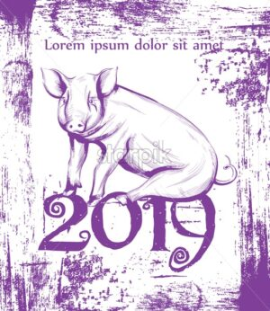 Happy New Year Pig symbol line art Vector. Vintage retro cute pink pig icon 2019 decoration graphic style - starpik