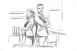 Happy business man and woman standing cross handed Vector sketch. Succesful team workers. Storyboard digital template. Sketch style line art - starpik
