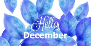 Hello December background with blue leaves Vector. Beautiful winter watercolor design texture - starpik