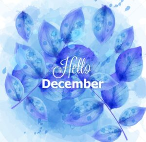 Hello December card with blue leaves Vector. Beautiful winter watercolor design texture - starpik