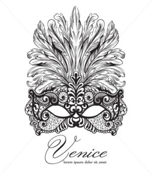 Lace mask and feathers Vector. Venice carnival card. Masquerade Party. Mardi Gras invitation. Carnival glittering design. Night Party Poster. Dance Flyer. Musical Banner template - starpik