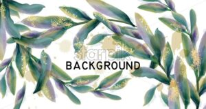 Leaves watercolor background Vector. Green abstract style decoration - starpik