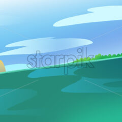 Lonely Island and some Rocks in the Ocean or a Sea. Calm green water current. Blue Sky with Clouds. Digital background raster illustration.