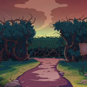 Lonely road between the bushes at sunset. Fairy tale cartoon stylish raster illustration.
