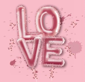 Love balloon foil text Vector realistic. Valentine day card. 3d detailed illustration letters. Pink color - starpik