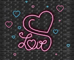 Love symbol in neon light Vector. Valentine day romantic symbol. Modern graphic brick background - starpik