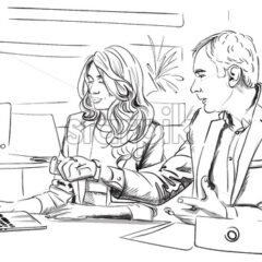 Men and woman business talking in the office Vector. Storyboard digital template. Sketch style line art - starpik