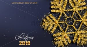 Merry CHristmas snowflake in golden glitter Vector. Realistic 3d banner. Winter holidays background template - starpik