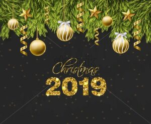 Merry Christmas golden glitter balls card Vector. Realistic 3d detailed illustration. 2019 sparkle gold text on dark background - starpik