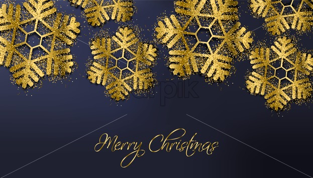 Merry Christmas Golden Glitter Snowflakes Vector Sparkling Winter Holidays Card 3d Realistic Texture Invitation Card Party Banner