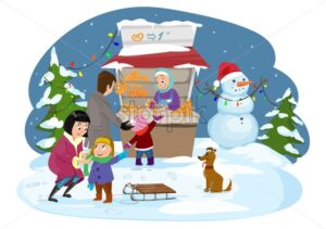 Merry Christmas happy family Vector. Joyful boy playing outdoors with his mother. Snowing Winter holidays. Christmas market. Cartoon style card - starpik