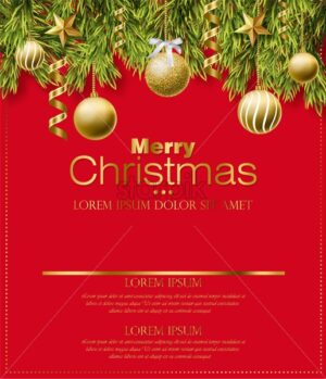Merry Christmas red card with golden glitter balls Vector. Realistic 3d detailed illustration. Gold text on red background - starpik