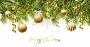 Merry Christmas white card with golden glitter balls Vector. Realistic 3d detailed illustration. Gold text on white background - starpik
