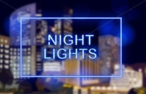 Neon lights over night city background Vector. Business center buildings. Blue light effect card - starpik