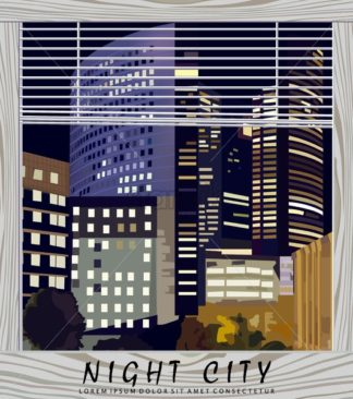 Night city Business center Vector illustration. La Defense Business center in Paris France. View from the window. Beautiful illuminated buildings at night - starpik