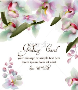 Orchid flowers watercolor card Vector. Beautiful spring frame. Delicate bouquet. Greeting card or wedding card illustration - starpik