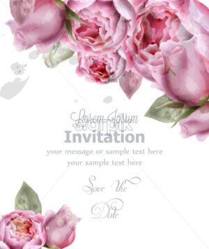 Peony flowers watercolor Vector. Invitation card, wedding ceremony, delicate postcard, Women day greeting card. Beautiful pastel color - starpik