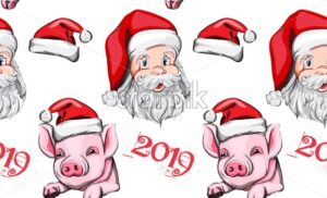 Pig year pattern Vector background. Santa Claus and cute pink pigs 2019 decoration - starpik