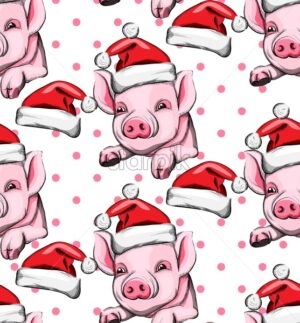 Pig year pattern Vector background. Vintage retro cute pink pigs 2019 decoration - starpik