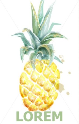 Pineapple Vector watercolor. Tropic fruit with glitter isolated on white. Icon template artistic exotic illustration. Menu label layout - starpik