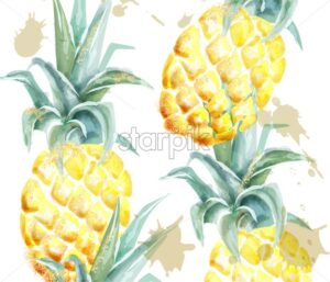 Pineapple pattern Vector watercolor. Tropic fruits with glitter on white background. Label artistic exotic illustration - starpik