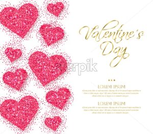 Pink glitter hearts Valentine day Vector. Romantic card template. Invitation or party poster - starpik