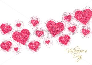 Pink glitter hearts Valentine day banner Vector. Romantic card template. Invitation or party poster - starpik