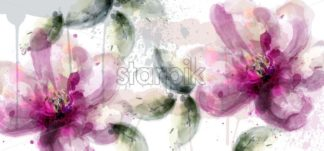 Pink lily flowers banner watercolor Vector. delicate floral blooming decor. Invitation card, wedding ceremony, postcard, Women day greeting. Flow colorful drops. Beautiful pastel color - starpik