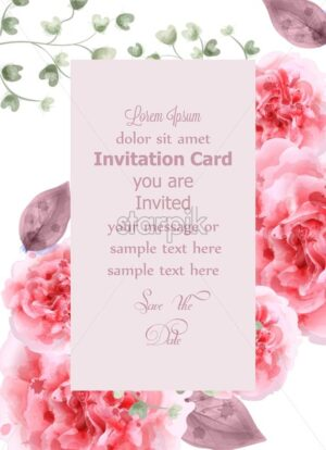 Pink roses card watercolor Vector. Vertical Invitation card, wedding ceremony, delicate postcard, Women day greeting card. Beautiful color - starpik