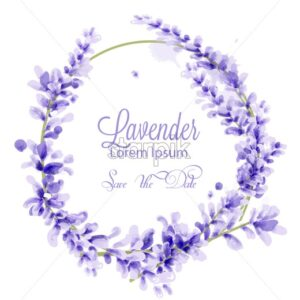 Pink watercolor lavender wreath Vector. delicate floral blooming decor. Invitation card, wedding ceremony, postcard, Women day greeting. Beautiful pastel color - starpik