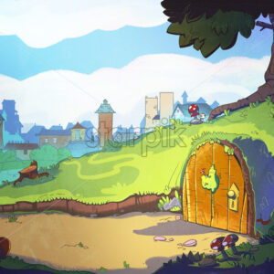 Rabbit's home hole under the tree. Fairy tale cartoon stylish raster illustration.